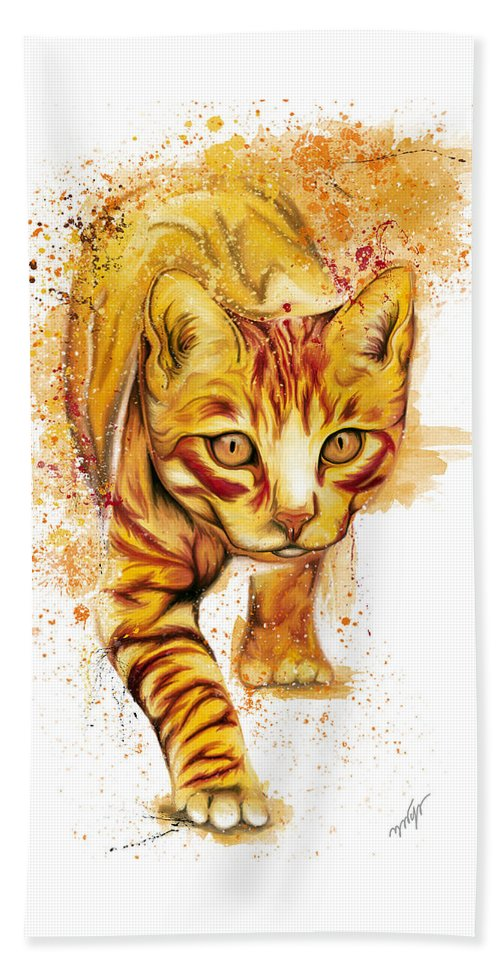 Yellow Cat Beach Towel featuring the digital art Yellow Cat by Nadia CHEVREL