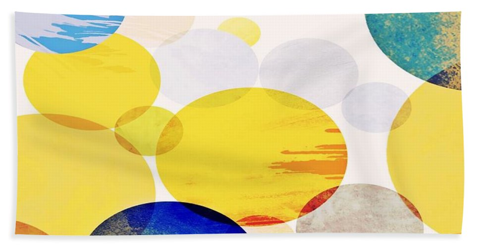 Circles Beach Towel featuring the mixed media Yellow Circles by Vesna Antic