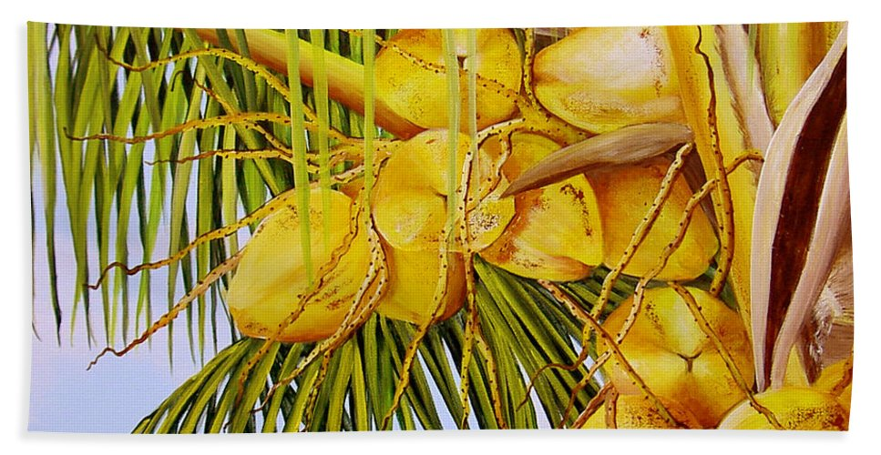 Coconuts Beach Towel featuring the painting Yellow Coconuts- 01 by Dominica Alcantara