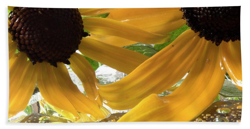 Yellow Beach Towel featuring the photograph Yellow Droplet Petals by Michelle Himes