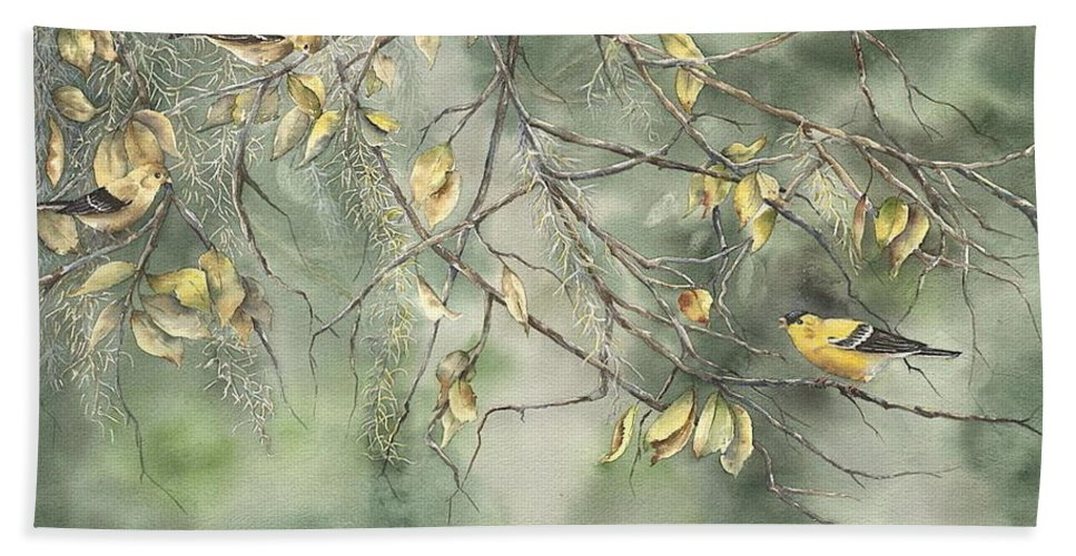 Yellow Finch Beach Towel featuring the painting Yellow Finch by Mary McCullah