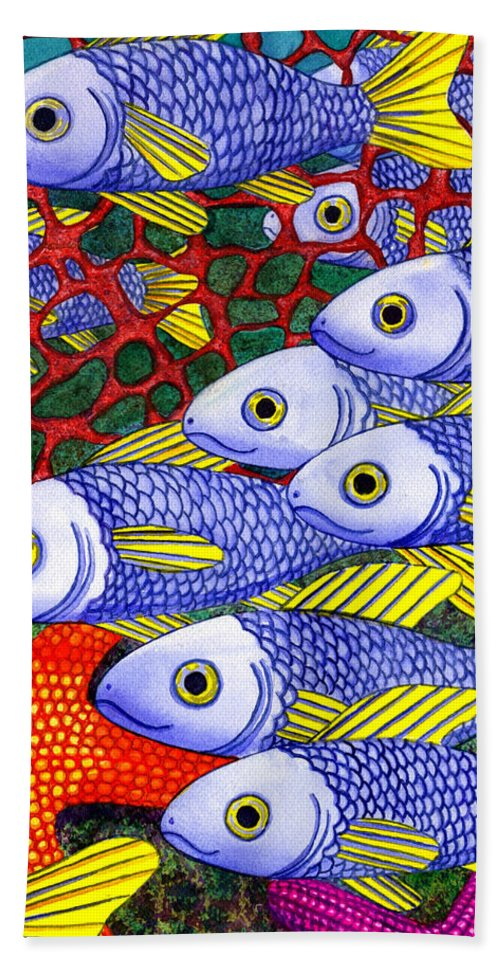 Fish Beach Sheet featuring the painting Yellow Fins by Catherine G McElroy