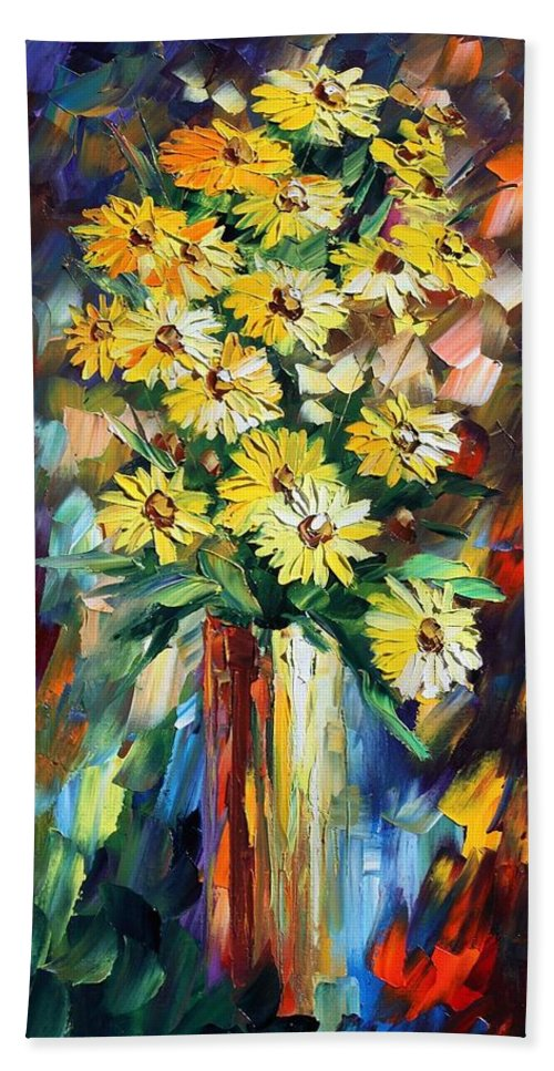 Afremov Beach Towel featuring the painting Yellow Flowers by Leonid Afremov