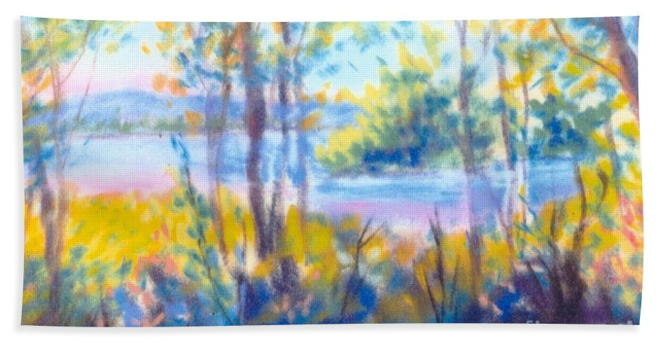 Water Beach Towel featuring the painting Yellow Flowers by Sandy Sereno