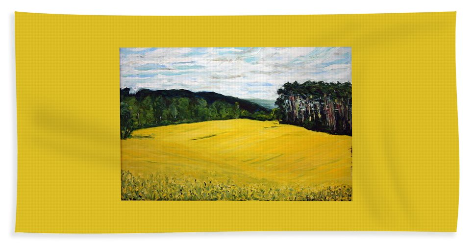 Landscape Beach Sheet featuring the painting Yellow Ground by Pablo de Choros