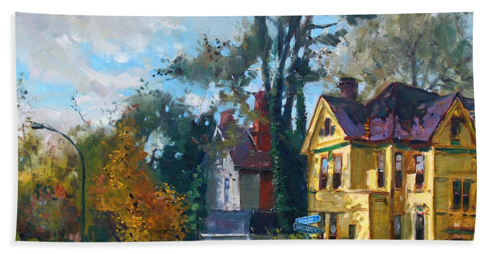 Yellow House Beach Towel featuring the painting Yellow House by Ylli Haruni