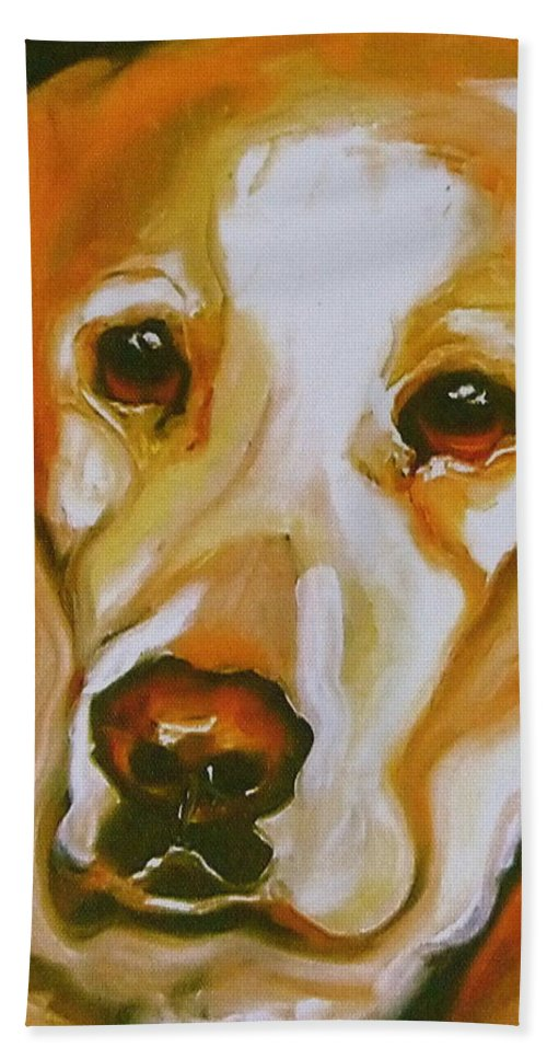 Oil Beach Towel featuring the painting Yellow Lab Amazing Grace by Susan A Becker