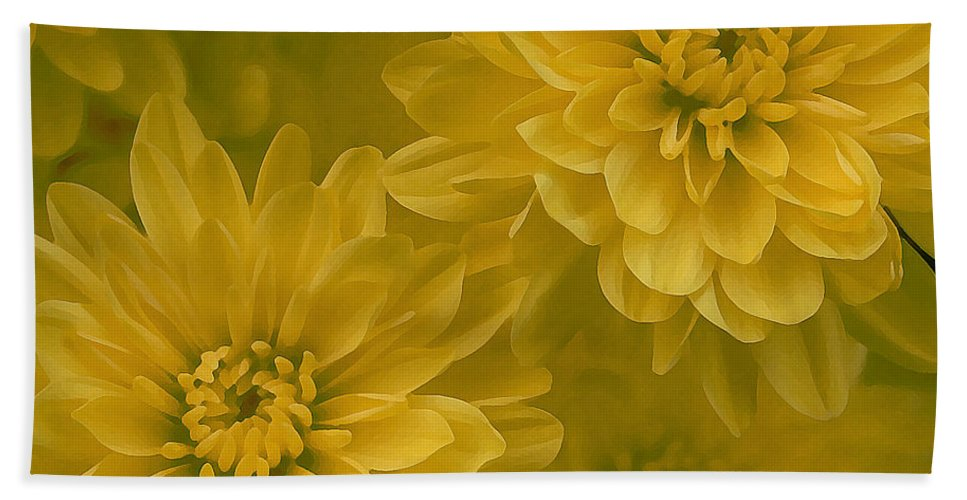 Yellow Mum Art Beach Towel featuring the photograph Yellow Mums by Linda Sannuti