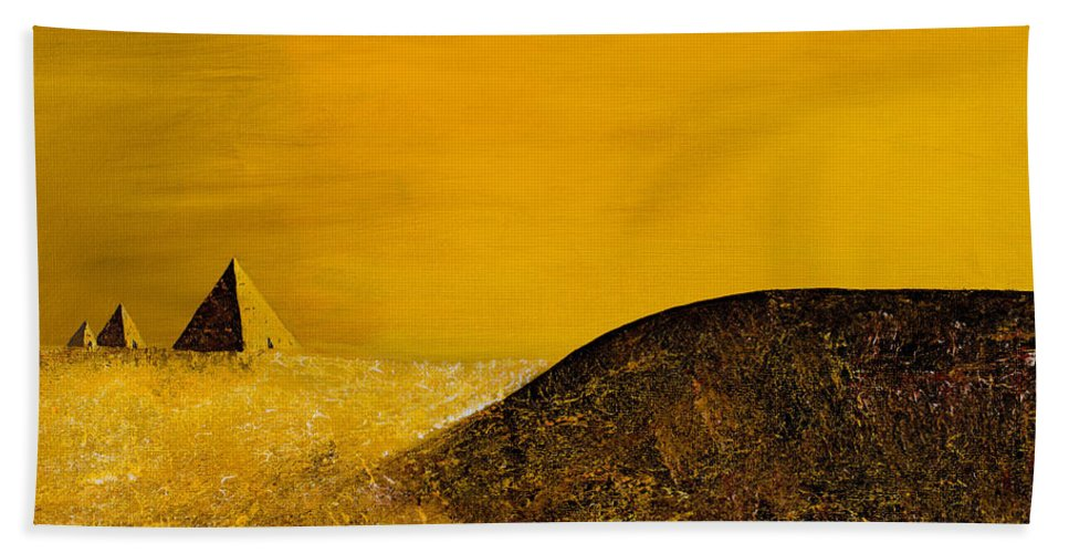 Science Fiction Beach Towel featuring the painting Yellow Pyramid by Mayhem Mediums
