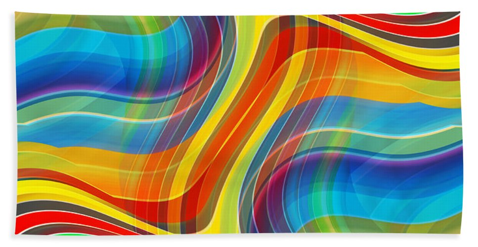 Abstract Beach Towel featuring the digital art Yellow Road by Ruth Palmer
