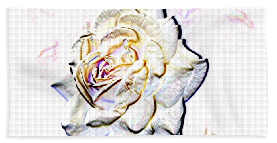 Rose Beach Towel featuring the digital art Yellow Rose by Tim Allen