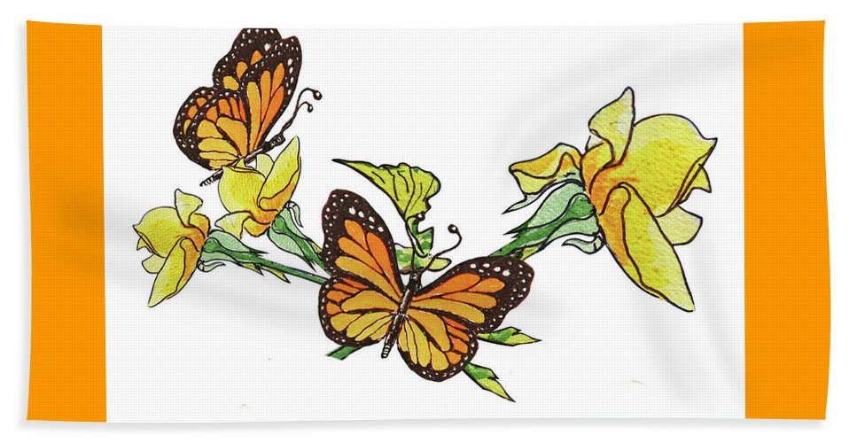 Yellow Roses Beach Towel featuring the painting Yellow Roses And Monarch Butterflies by Irina Sztukowski