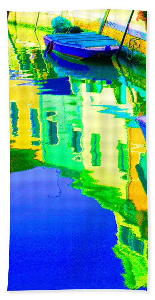 Yellow Beach Towel featuring the digital art Yellow Toned Reflections by Donna Corless