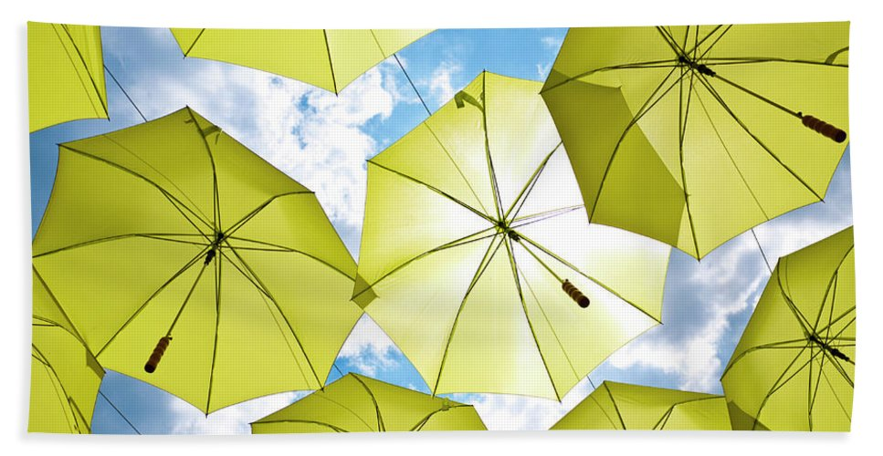 Yellow Beach Towel featuring the photograph Yellow Umbrellas by Rae Tucker