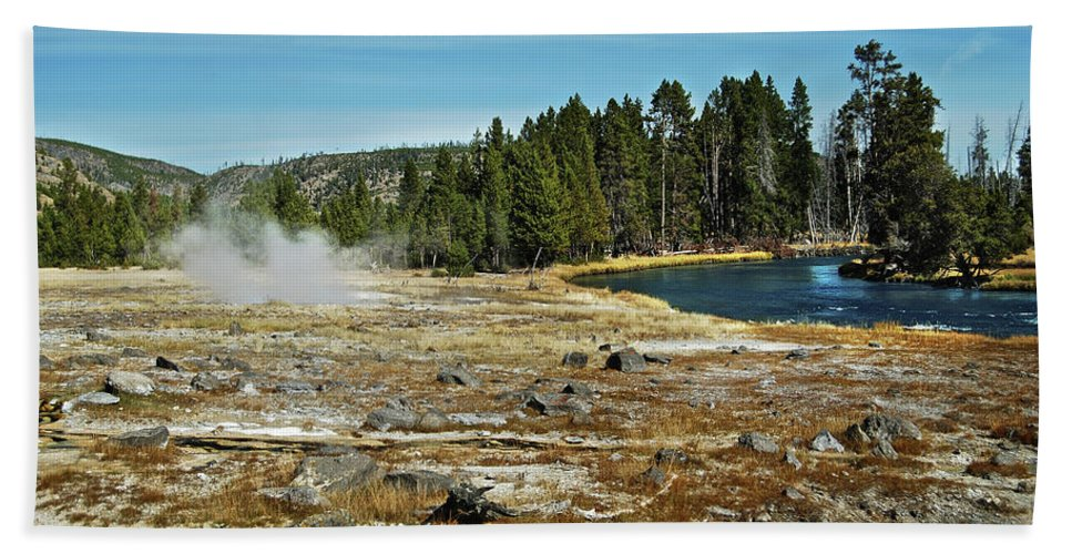 Yellowstone Beach Towel featuring the photograph Yellowstone Hot Springs by Michael Peychich