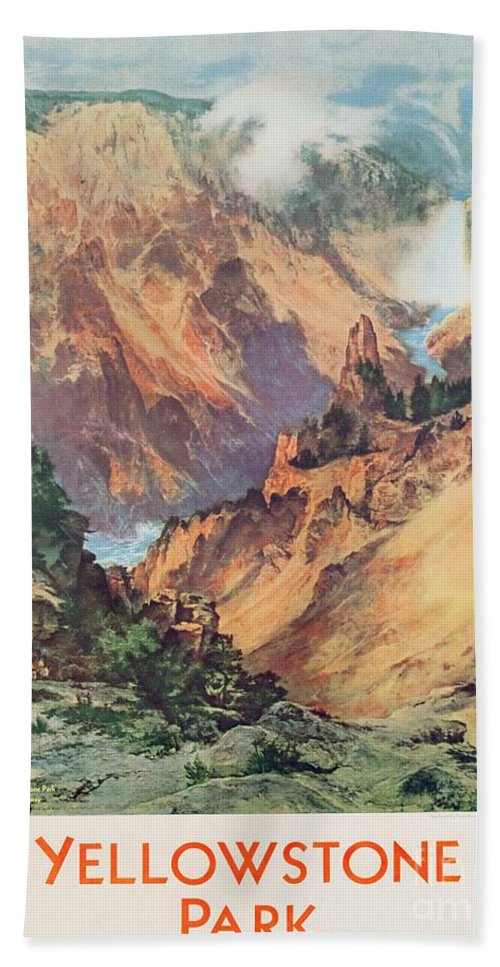 Northern Pacific Railway; Picturesque; American Landscape; Waterfall; Panorama; Hot Springs; Geyser; National Park; Wyoming; Montana; Idaho; Gorge; Valley; Nature Reserve; Grand Canyon; Rocks; Dramatic; National Park; Mountains; Mountainous; Travel; Tourism; Advertisement; Advert; Publicising; Publicity; Vintage Poster;thomas Moran Beach Towel featuring the painting Yellowstone Park by Thomas Moran
