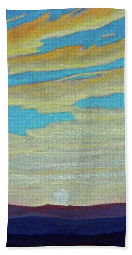 Landscape Beach Sheet featuring the painting Yesterday by Brian Commerford