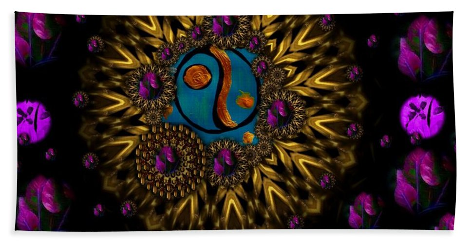 Acryl Beach Towel featuring the mixed media Yin And Yang Collage by Pepita Selles