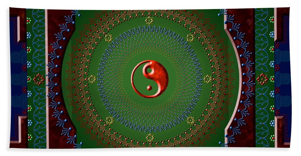 Mandala Beach Sheet featuring the digital art Yin Yang by Stephen Lucas