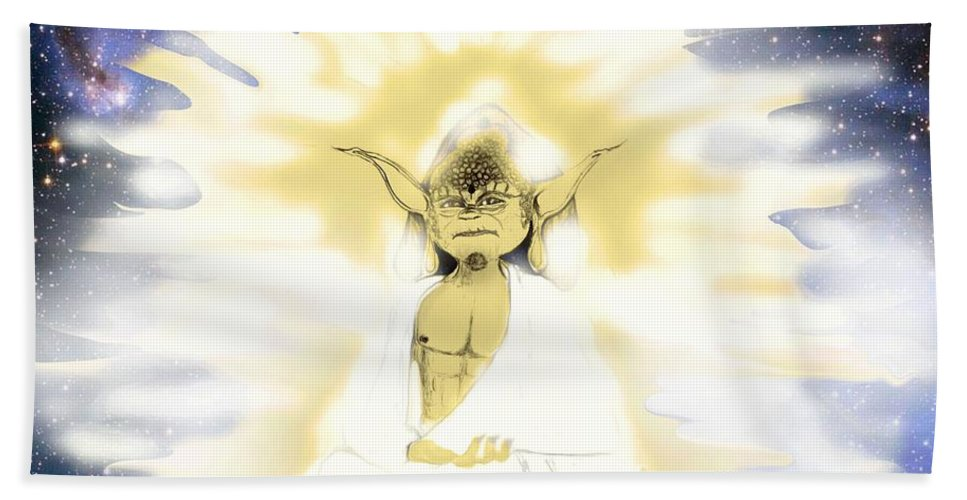 Beach Towel featuring the digital art Yoda Budda by Subbora Jackson