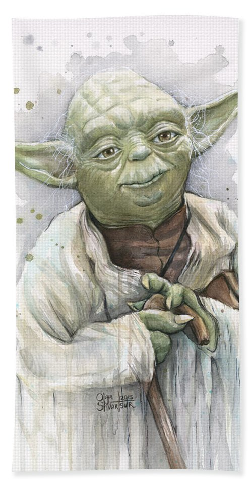 Yoda Beach Towel featuring the painting Yoda by Olga Shvartsur