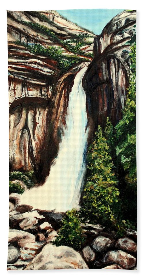 Landscape Beach Towel featuring the painting Yosemite Falls by Elizabeth Robinette Tyndall