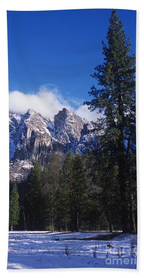 Yosemite Beach Towel featuring the photograph Yosemite Three Brothers In Winter by Jim And Emily Bush