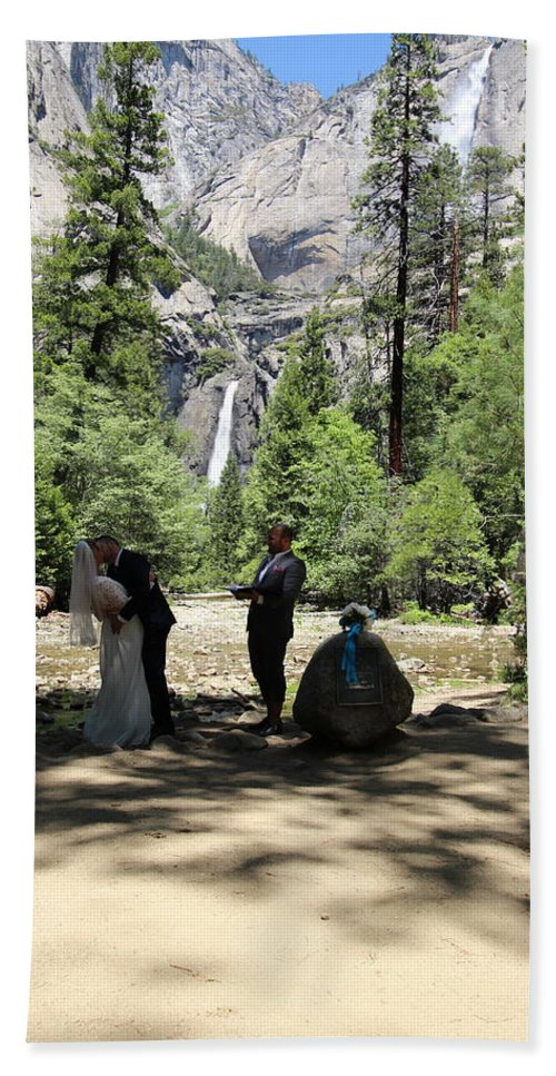 Beach Towel featuring the painting Yosemite Wedding by Travis Day