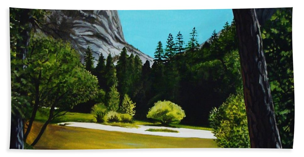 Landscape Beach Towel featuring the painting Yosemite's Window by Elizabeth Robinette Tyndall