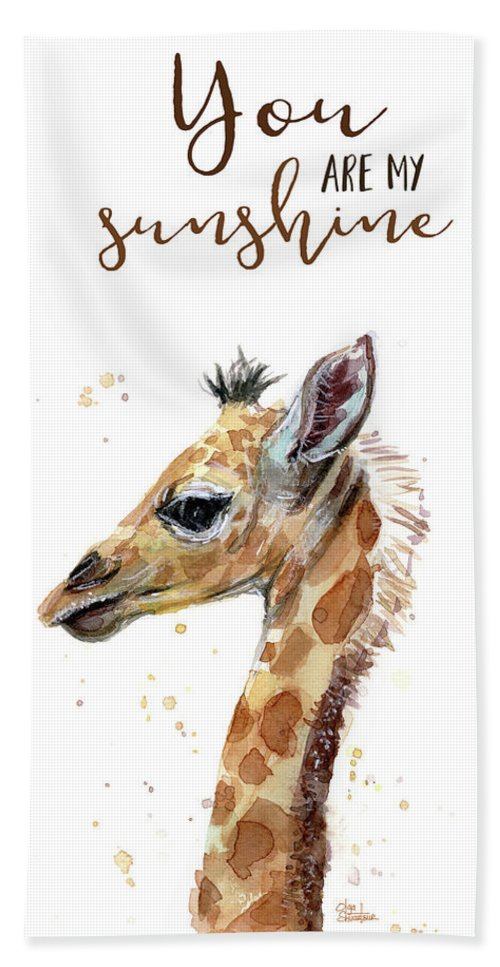 You Are My Sunshine Beach Towel featuring the painting You Are My Sunshine Giraffe by Olga Shvartsur