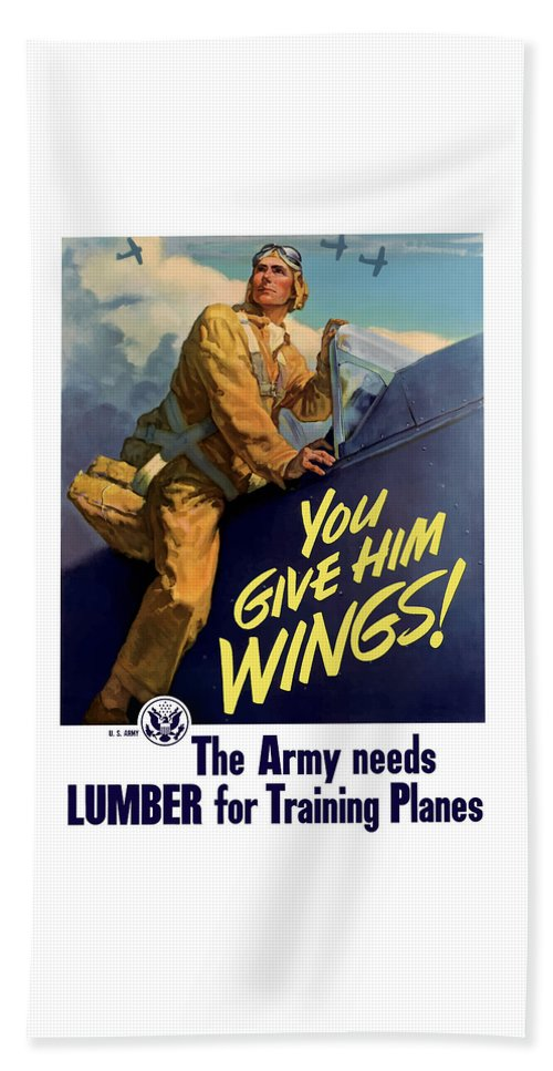 Aircraft Beach Towel featuring the painting You Give Him Wings - Ww2 by War Is Hell Store