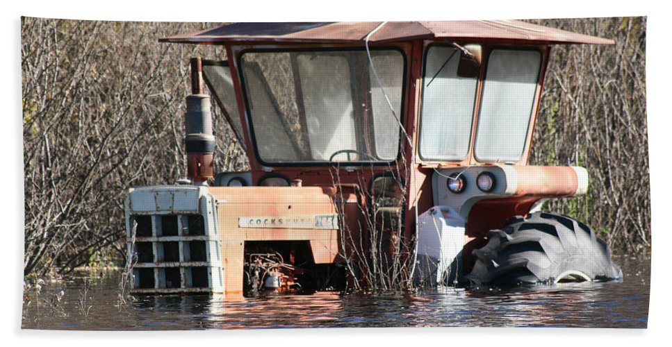 Flood Regina Sk Canada Flooding Flooded Farm Tractor Trees Grass Wrecked Loss Beach Towel featuring the photograph You Go Get The Tractor by Andrea Lawrence