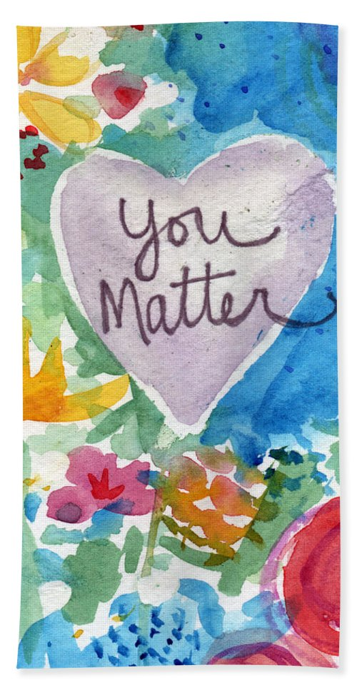 Heart Beach Towel featuring the mixed media You Matter Heart and Flowers- Art by Linda Woods by Linda Woods