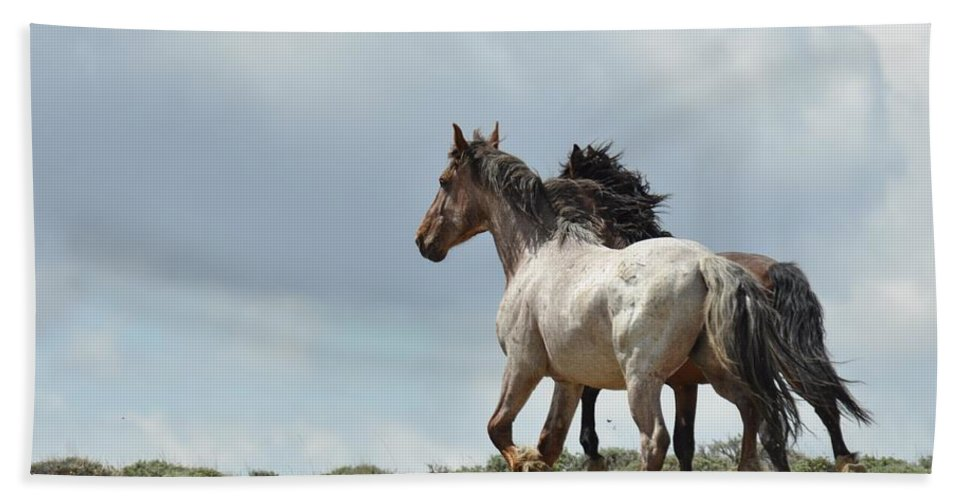 Wild Horses Beach Towel featuring the photograph You Will Never Catch Us by Frank Madia