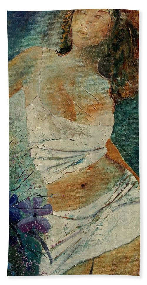 Girl Beach Towel featuring the painting Young Girl 5625632 by Pol Ledent