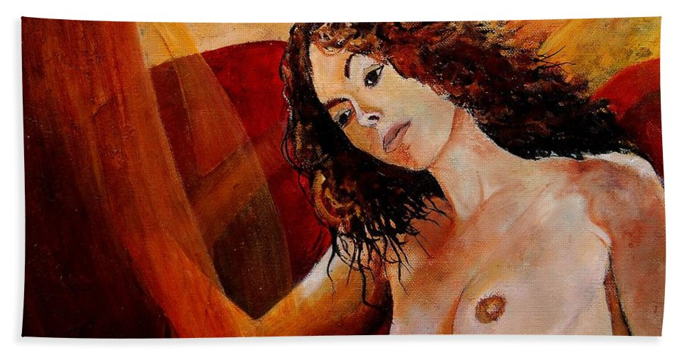 Girl Beach Towel featuring the painting Young Girl 5641 by Pol Ledent