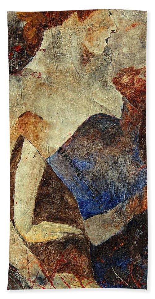 Girl Beach Towel featuring the painting Young Girl 56901247 by Pol Ledent