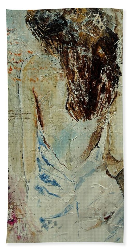 Nude Beach Sheet featuring the painting Young Girl 64 by Pol Ledent