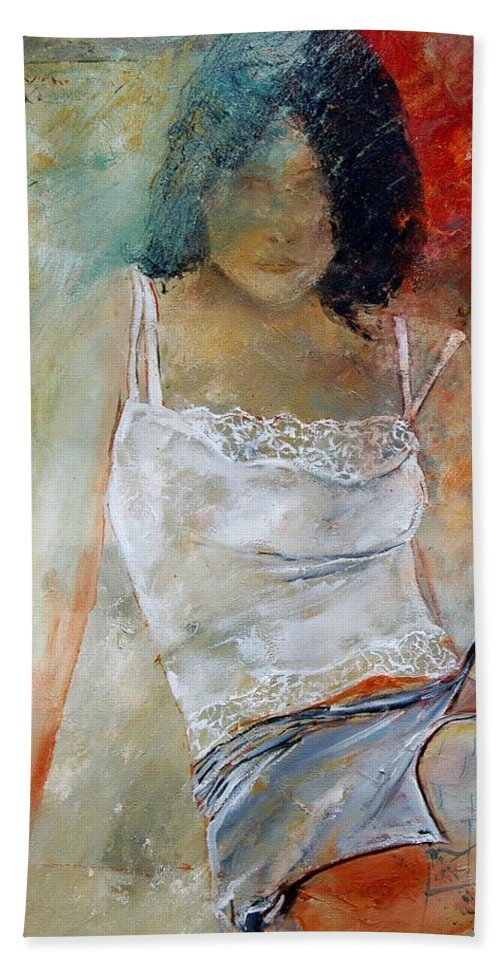 Nude Beach Sheet featuring the painting Young Girl Sitting by Pol Ledent