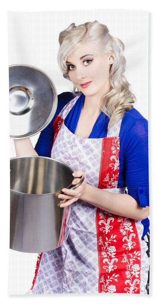 Woman Beach Towel featuring the photograph Young Housewife Lifting Lid On A Home Cooking Pot by Jorgo Photography - Wall Art Gallery