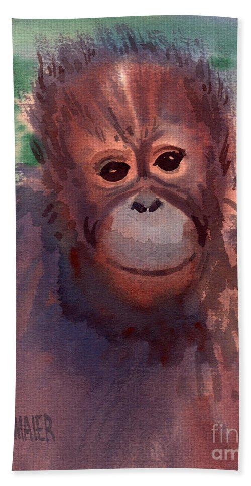 Orangutans Beach Towel featuring the painting Young Orangutan by Donald Maier
