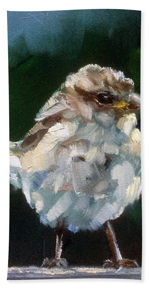 Sparrow Beach Towel featuring the painting Young Sparrow by Gary Bruton