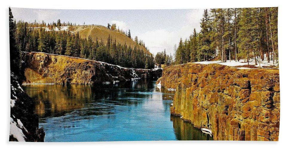 North America Beach Towel featuring the photograph Yukon River And Miles Canyon - Whitehorse by Juergen Weiss
