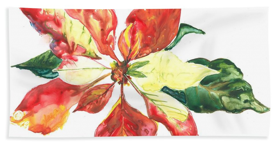 Poinsettia Beach Towel featuring the painting Yupo Poinsettia by Denise Ogier