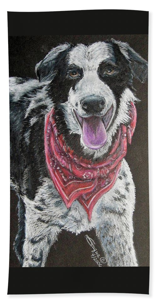 Fuqua - Artwork Beach Towel featuring the drawing Zack by Beverly Fuqua