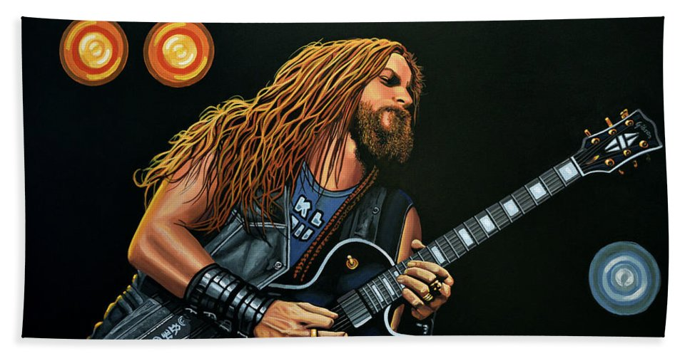 Zakk Wylde Beach Towel featuring the painting Zakk Wylde by Paul Meijering