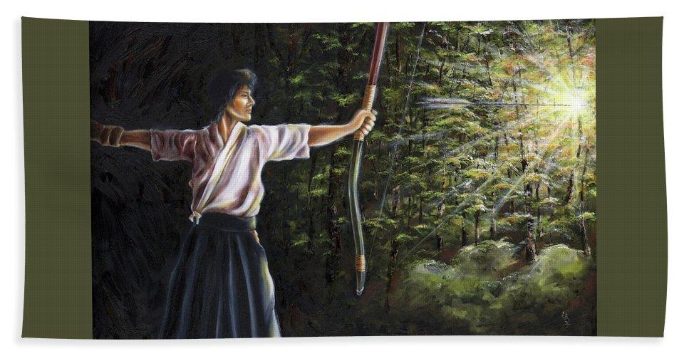 Japanese Archery Beach Towel featuring the painting Zanshin by Hiroko Sakai