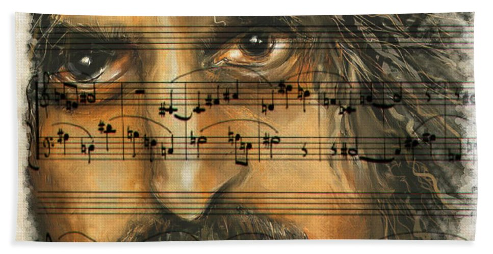 Portrait Beach Towel featuring the mixed media Zappa The Walz by Mark Tonelli