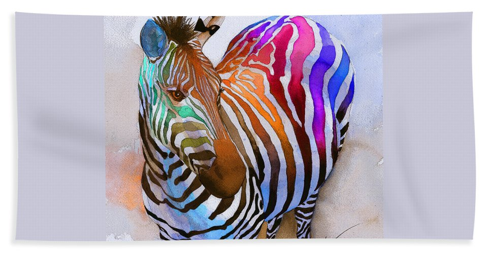 Colorful Beach Towel featuring the painting Zebra Dreams by Galen Hazelhofer