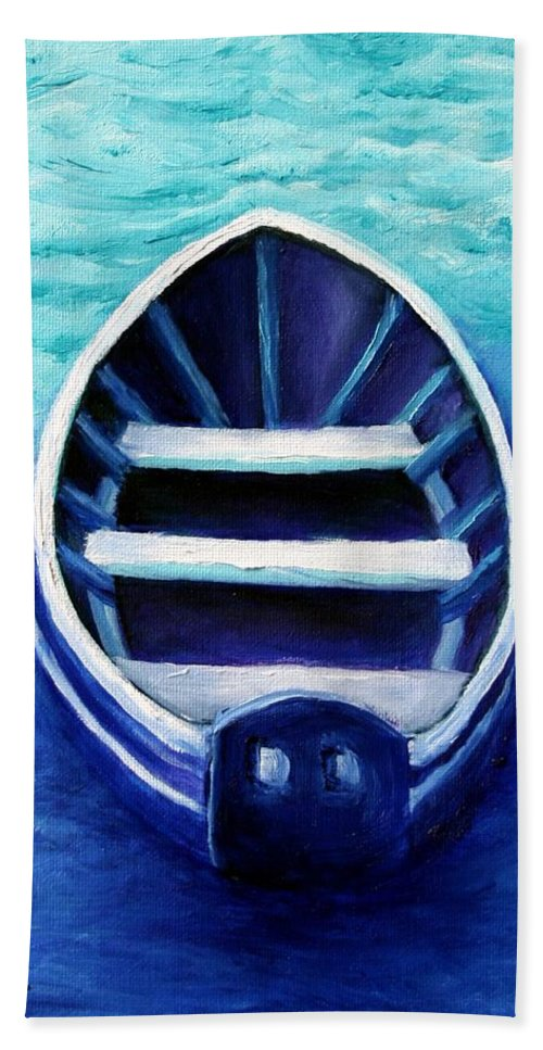 Boat Beach Towel featuring the painting Zen Boat by Minaz Jantz